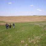 People walking on the prairie