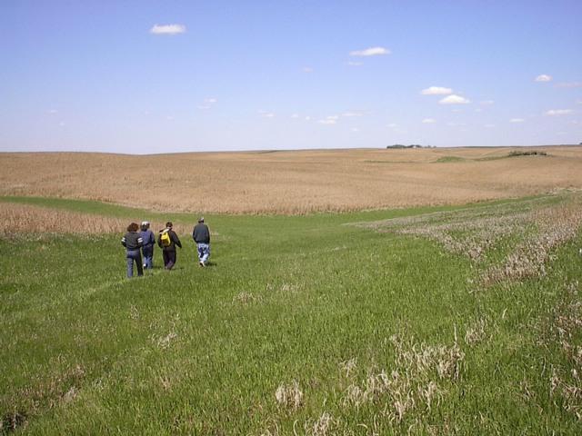 People walking on the prairie