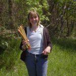 Heather holding rhubarb stalks